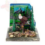 Сувенир Орел у скал 13х12х12 см. змеевик, яшма