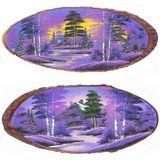 Панно на срезе дерева Рассвет горизонтальное 60-65 см