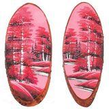 Панно на срезе дерева Розовый закат вертикальное 60-65 см