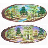 Панно на срезе дерева Весна горизонтальное 60-65 см