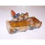 Кашпо керамика глазурь Три птицы 23см