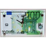 Часы стекло настенные Купюра Евро 40*24см