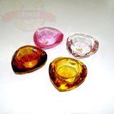 Подсвечник Кристалл Сердце цветное стекло огранка 8*8*4см (4 цвета)
