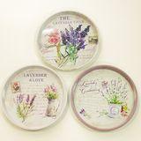 Поднос круглый металл Lavender d-30 см (1уп-24шт)1шт
