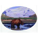 Панно открытка Медведь и горы (Змеевик, камен.крошка) 19*13*5 см