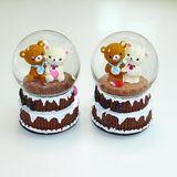 Шар стекло МУЗЫКАЛЬНЫЙ крутящийся Мишки на торте 15*10 см