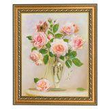 Картина Розы на мраморном столике багет №3 (24х30 см) (дерево, каменная крошка)