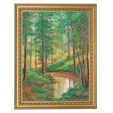 Картина Солнечный лес багет №4 (30х40 см) (дерево, каменная крошка)
