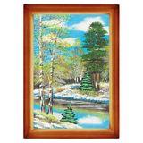 Картина Весенний пейзаж багет дерево №3 (20х30 см) (дерево, каменная крошка)
