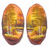 Панно на срезе дерева Осень золотая вертикальное 40-45 см