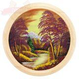 Панно на тарелке Осенний пейзаж Д-50см (дерево, каменная крошка)