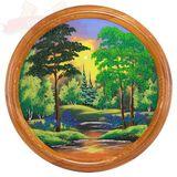 Панно на тарелке Летний пейзаж Д-50см (дерево, каменная крошка)
