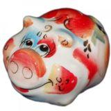 Свинка цветная фарфор гжель 6.5*4.5*4 см