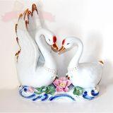 Лебеди пара цветной фарфор 27*25*12 см