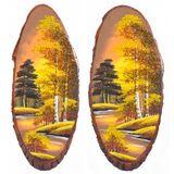 Панно на срезе дерева Осень золотая вертикальное 65-70 см