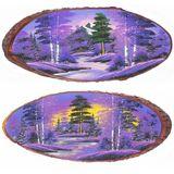 Панно на срезе дерева Рассвет горизонтальное 45-50 см