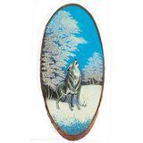 Панно на срезе дерева Воющий волк вертикальное 65-70 см