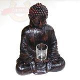 Будда в медитации-подсвечник (черный полистоун) 36*26*16 см