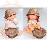 Мальчик/Девочка с тарелкой керамика- садовая фигура 33*16*32 см