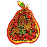 Доска разделочная Груша дерево, хохломская роспись 28*19 см