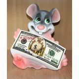 Копилка мышка «К деньгам» 21 см. (керамика)