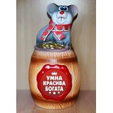 Копилка мышь на бочке «Умна, красива, богата» 29 см. (керамика)