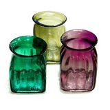 Ваза стекло цветное прозрачный jar square  h-16 см d-14 см (3 вида)