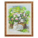 Картина Котята в цветах II багет №5 (40х50 см) 3958