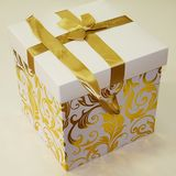 Коробка подарочная с бантом лентой 28*28*28 см Золотые узоры (1уп-6шт)1шт