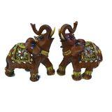 Слон инкрустированный фигура из полистоуна 22*18*9 см