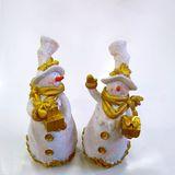 Снеговик white|gold с подарками в цилиндре полистоун 28*13*12 см