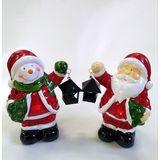 Снеговик/дед мороз с фонарем С ПОДСВЕТКОЙ керамика, металл 17*13*8 см