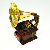Шкатулка МУЗЫКАЛЬНАЯ (механика) Золотой граммофон 27*20*15 см