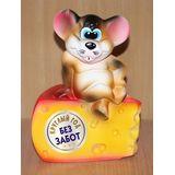 Копилка Мышонок на сыре Без забот 21 см. (керамика)