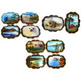 Панно овальное Байкал 25*19см (дерево, каменная крошка) 10 видов