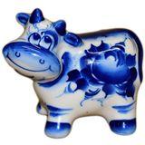 Корова Буренка фарфор Гжель 9 см (8*7.5*6)