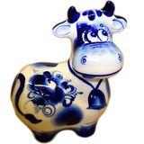 Корова с колокольчиком фарфор Гжель 10*10*5 см