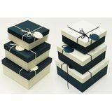 Н-р коробок квадратные 3в1 (темно-синие, бежевые) 19*19*9.5/17*17*8/15*15*6.5 см