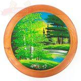 Тарелка декоративная Лето 30см дерево,камен. роспись