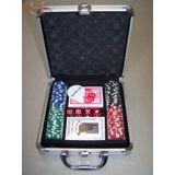 Покер (101фишка (тяжелые) + 2колоды карт+кости) в чемодане металлик с ключами 22х22см