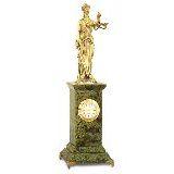 Часы настольные Фемида 29*8,5*8,5 см змеевик, бронзовое литье