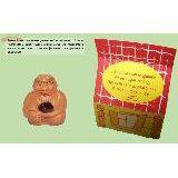 Оберег Старец керамика 4см с натуральным камнем Бычий глаз