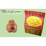 Оберег Старец керамика 4см с натуральным камнем Обсидиан