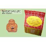 Оберег Старец керамика 4см с натуральным камнем Яшма