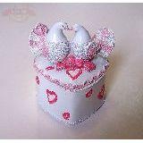 Шкатулка сердце бело-розовая Голуби 11*9см