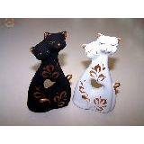 Коты влюбленные расписные мини с сердцем 12см