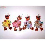 Кот висячий с мышкой/рыбкой панно керамика 17см