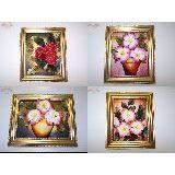 Картина из кожи Цветы 32*27см золотой багет