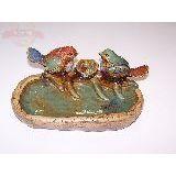 Птицы семья с овальной тарелкой керамика глазурь 25*11см