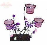 Подсвечник на 3 свечи фиолетовый с бабочками стекло/металл 25*25см
